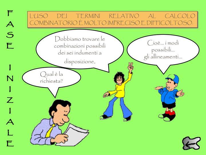 L'USO DEI TERMINI RELATIVO AL CALCOLO COMBINATORIO È MOLTO IMPRECISO E DIFFICOLTOSO.