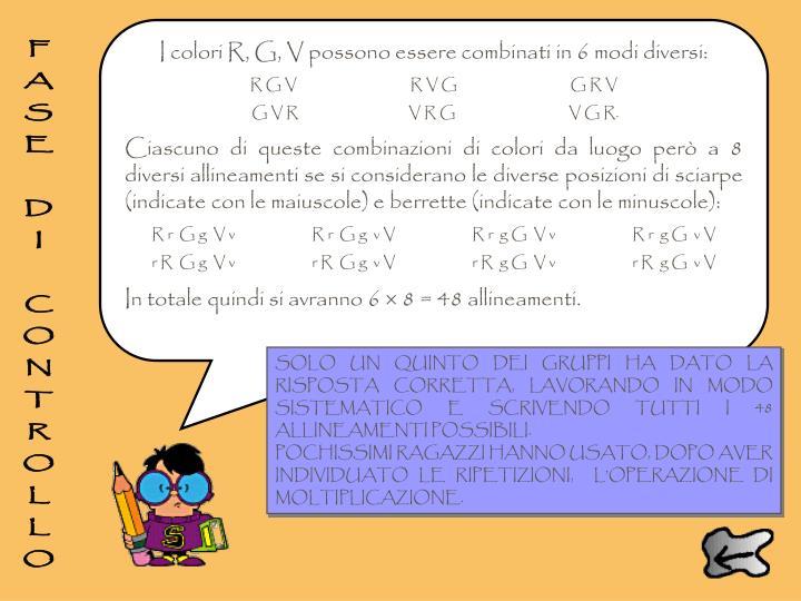 I colori R, G, V possono essere combinati in 6 modi diversi: