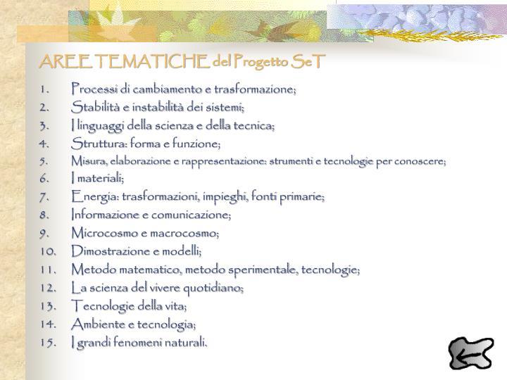 AREE TEMATICHE del Progetto SeT