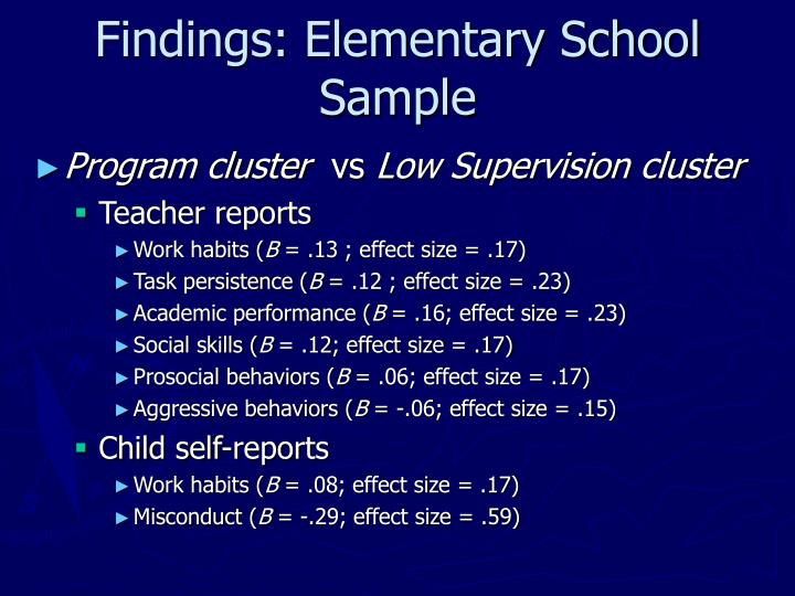 Findings: Elementary School Sample