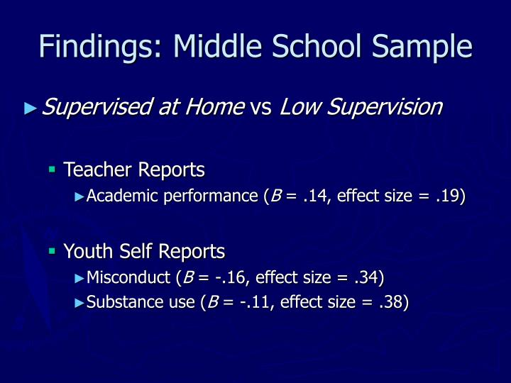 Findings: Middle School Sample