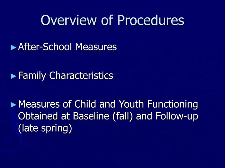 Overview of Procedures
