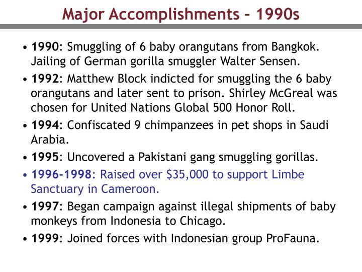 Major Accomplishments – 1990s