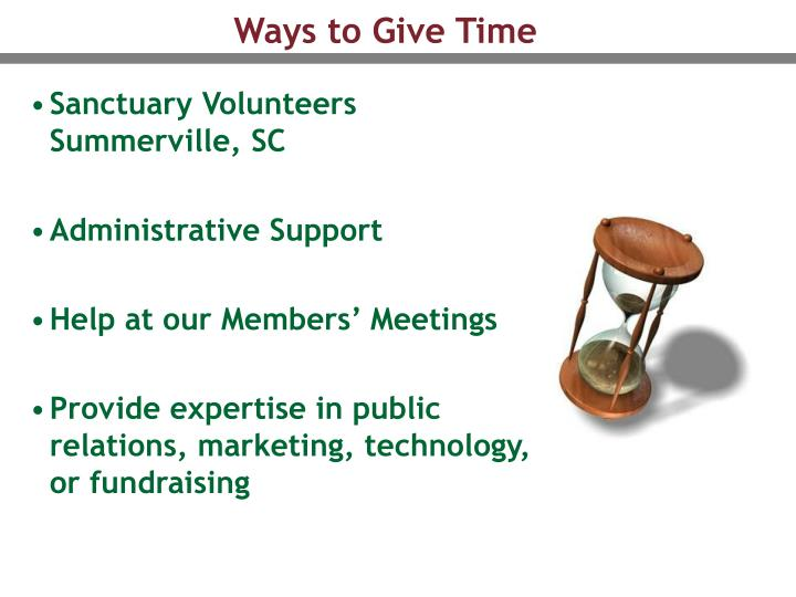 Ways to Give Time