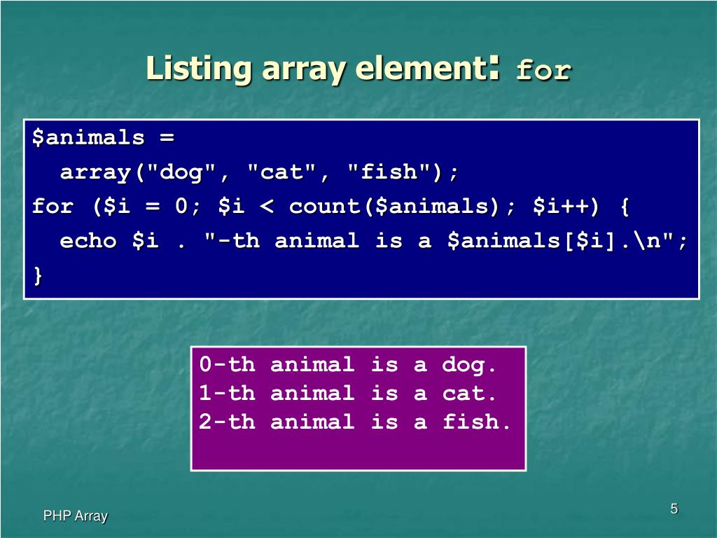 Listing array element