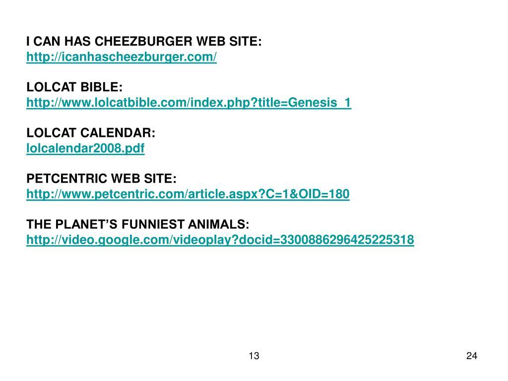 I CAN HAS CHEEZBURGER WEB SITE: