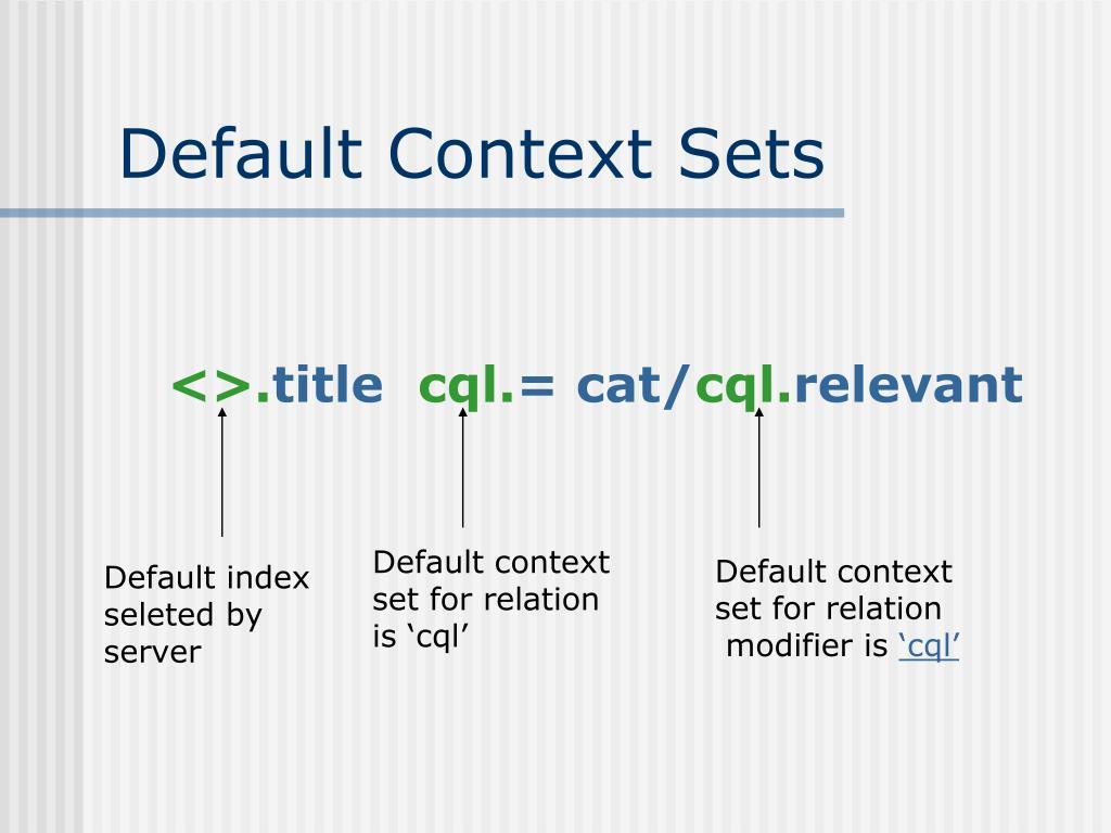 Default Context Sets