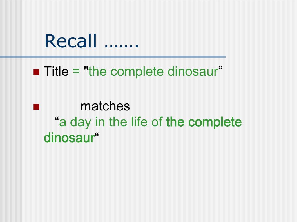 Recall …….