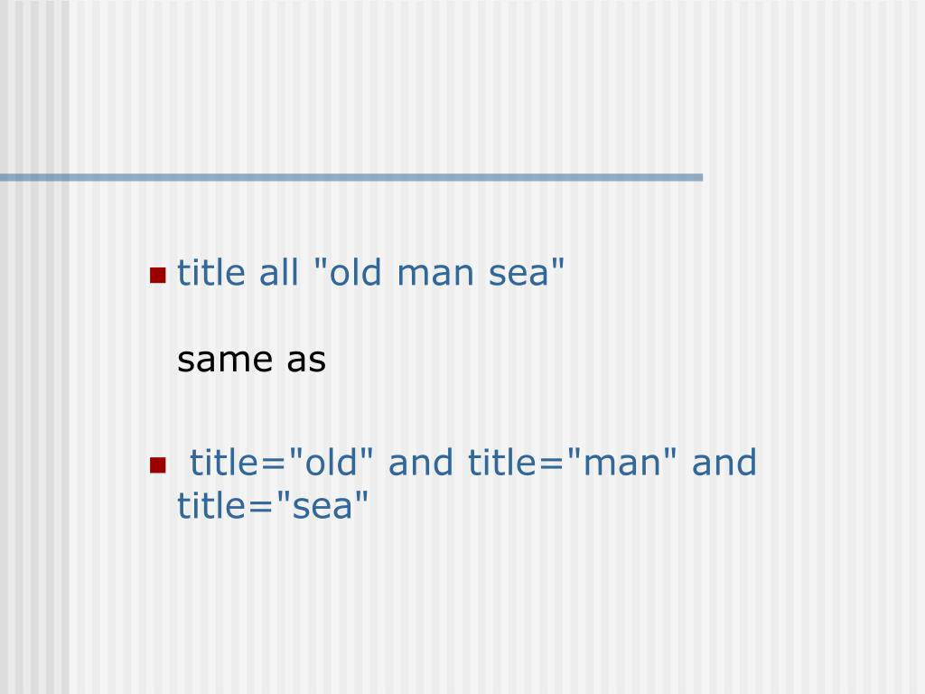 "title all ""old man sea"""