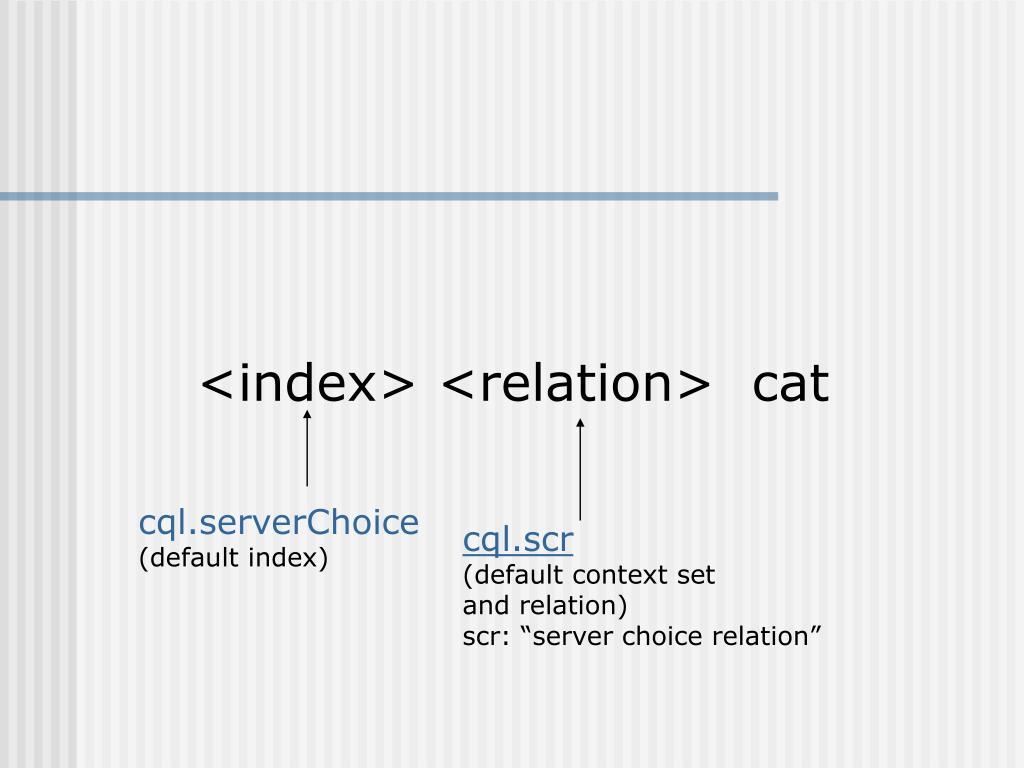 <index> <relation>  cat