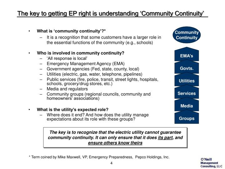 The key to getting EP right is understanding 'Community Continuity'