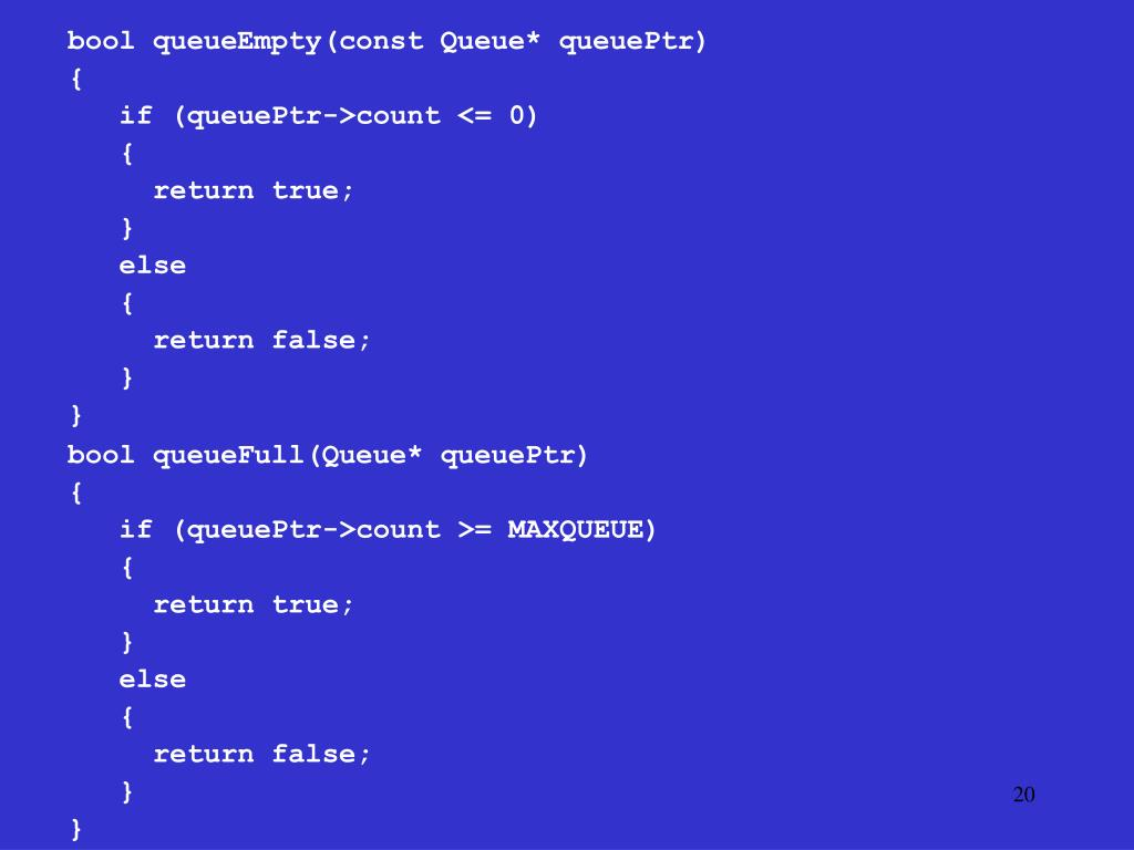 bool queueEmpty(const Queue* queuePtr)