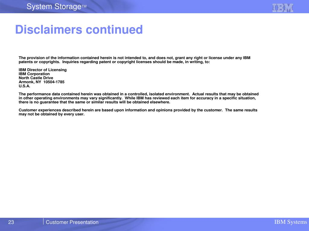 Disclaimers continued