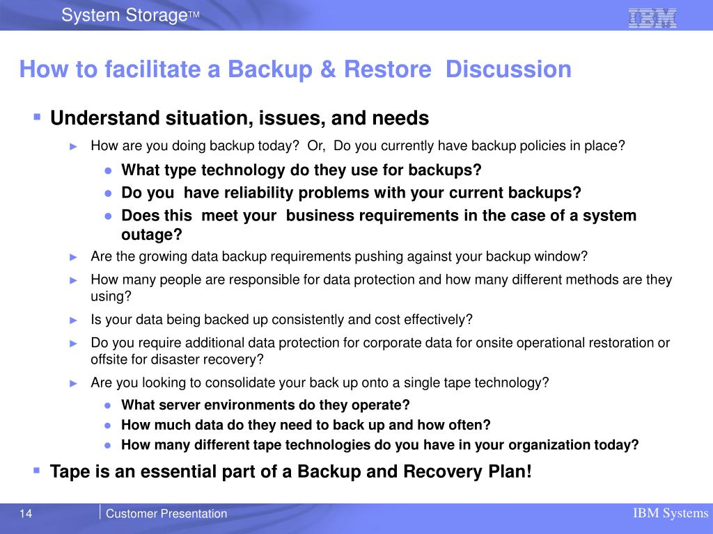 How to facilitate a Backup & Restore  Discussion