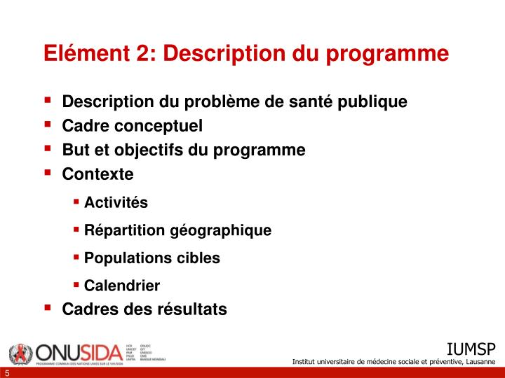 Elément 2: Description du programme