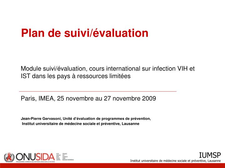 Plan de suivi valuation