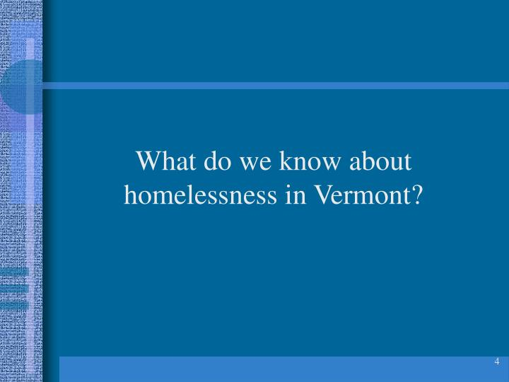 What do we know about homelessness in Vermont?