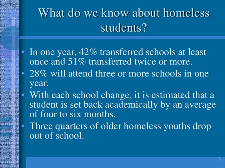 What do we know about homeless students?