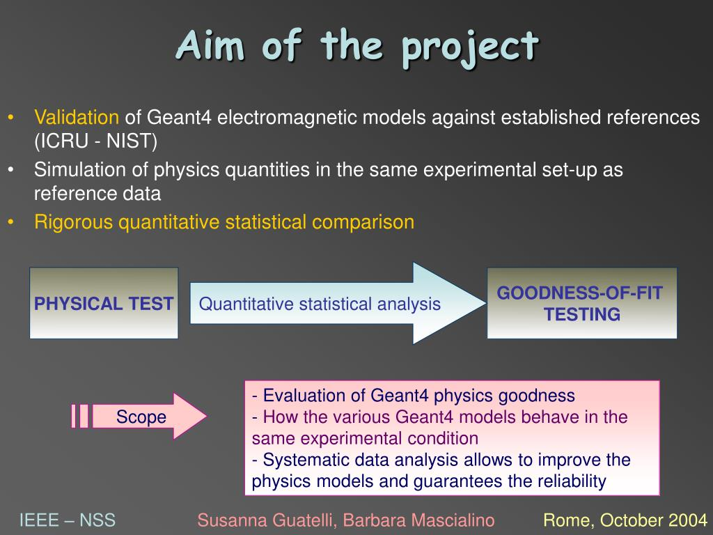 - Evaluation of Geant4 physics goodness