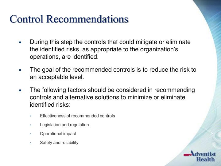 Control Recommendations