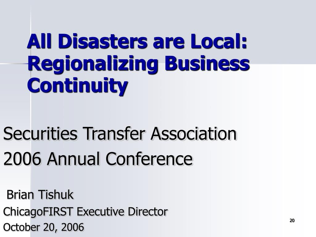 All Disasters are Local: