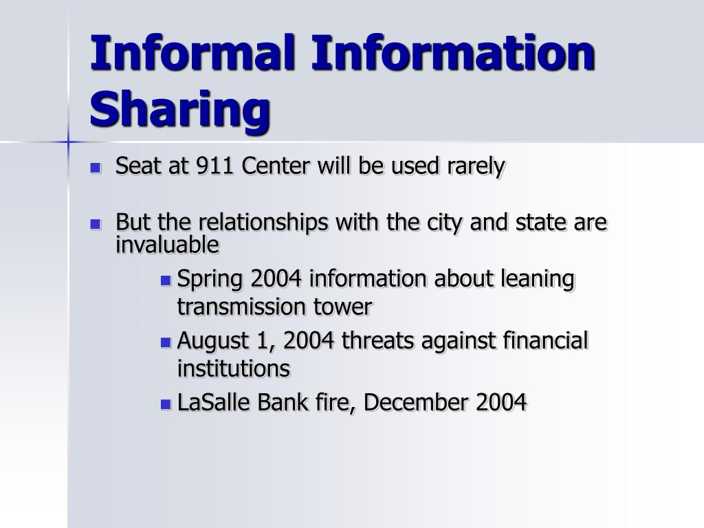 Informal Information Sharing