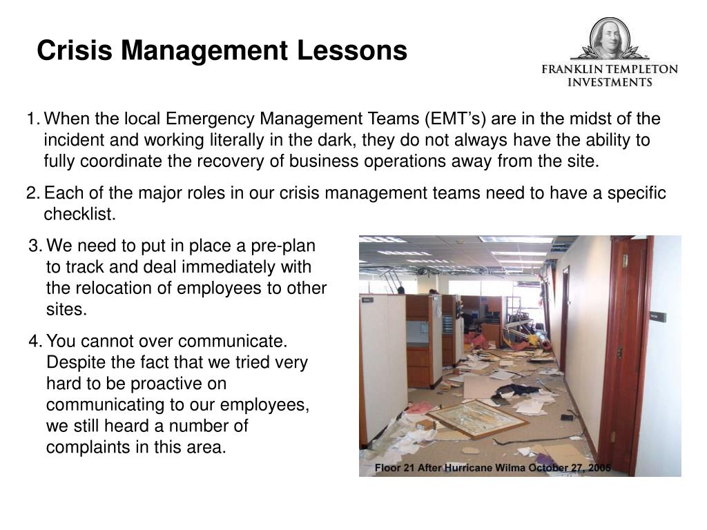 Crisis Management Lessons