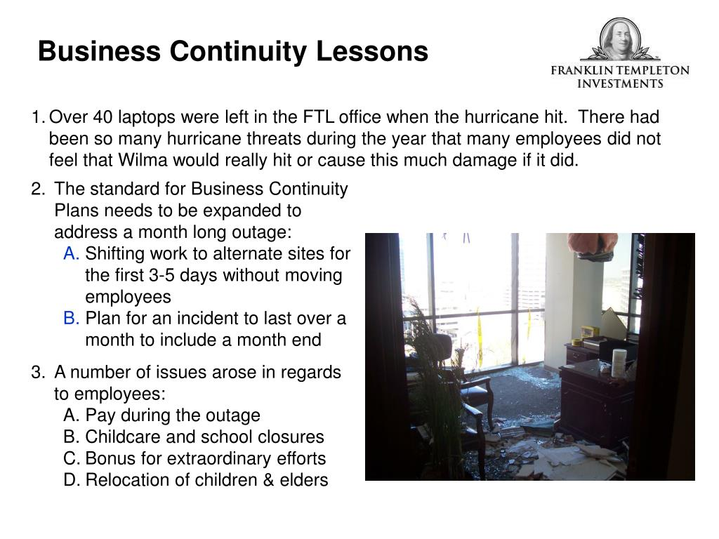 Business Continuity Lessons