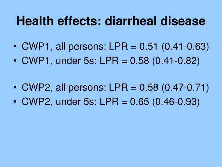 Health effects: diarrheal disease