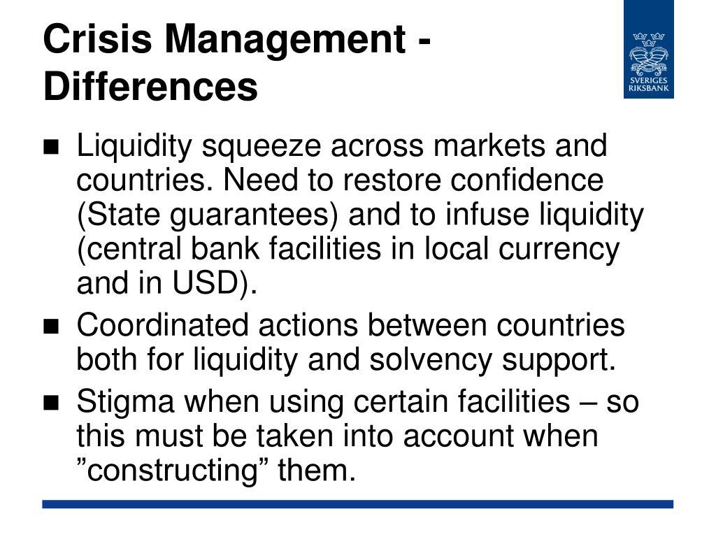 Crisis Management - Differences