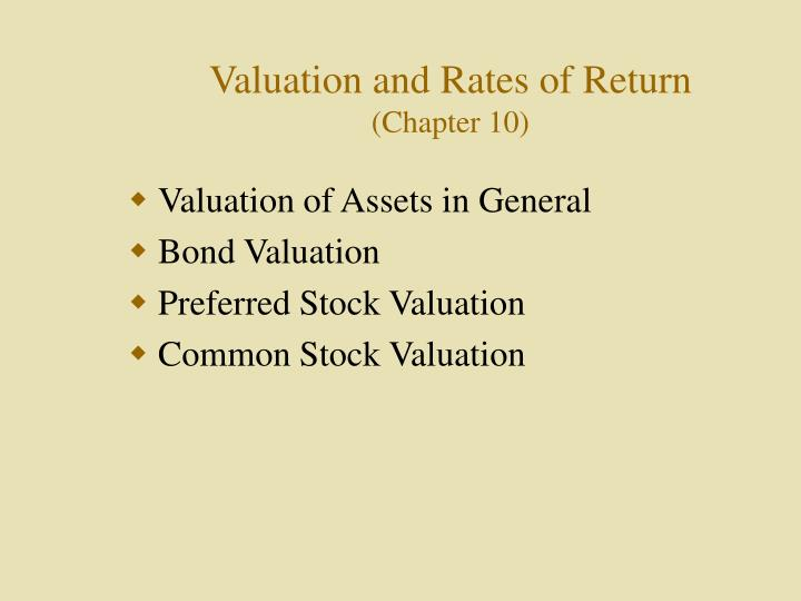 Valuation and rates of return chapter 10