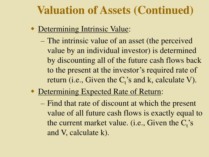 Valuation of assets continued
