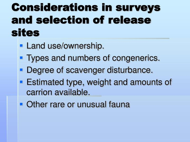 Considerations in surveys and selection of release sites