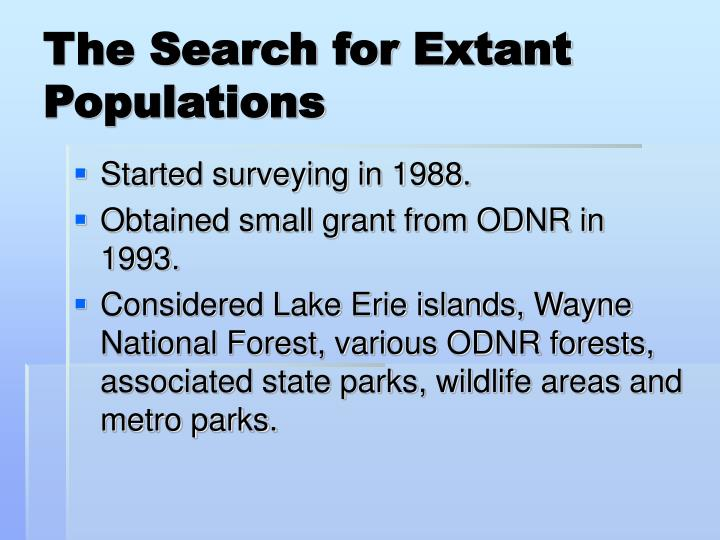 The Search for Extant Populations