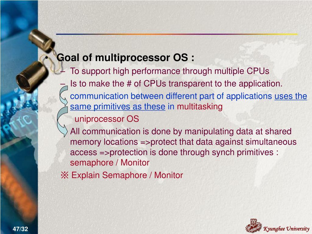 Goal of multiprocessor OS :