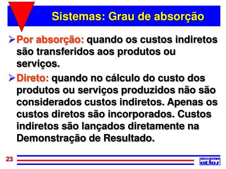Sistemas: Grau de absorção