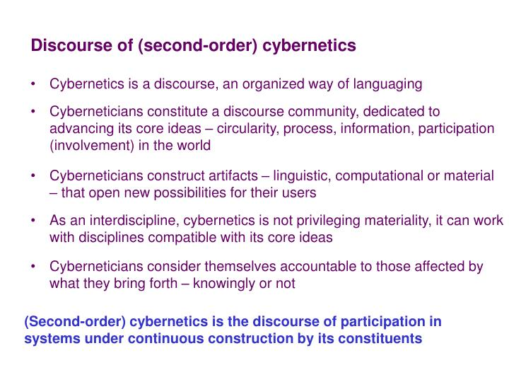 Discourse of (second-order) cybernetics