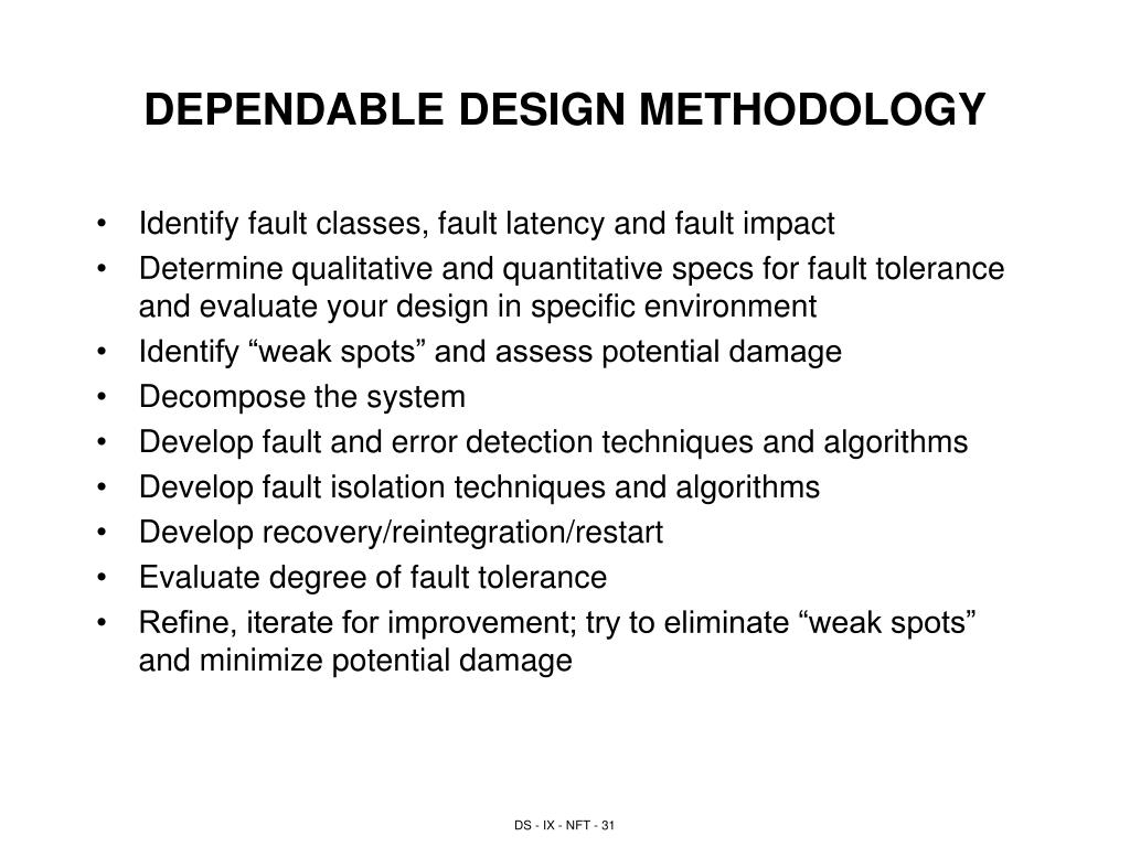 DEPENDABLE DESIGN METHODOLOGY