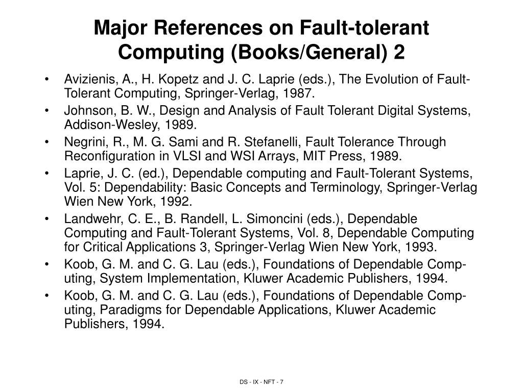 Major References on Fault-tolerant Computing (Books/General) 2