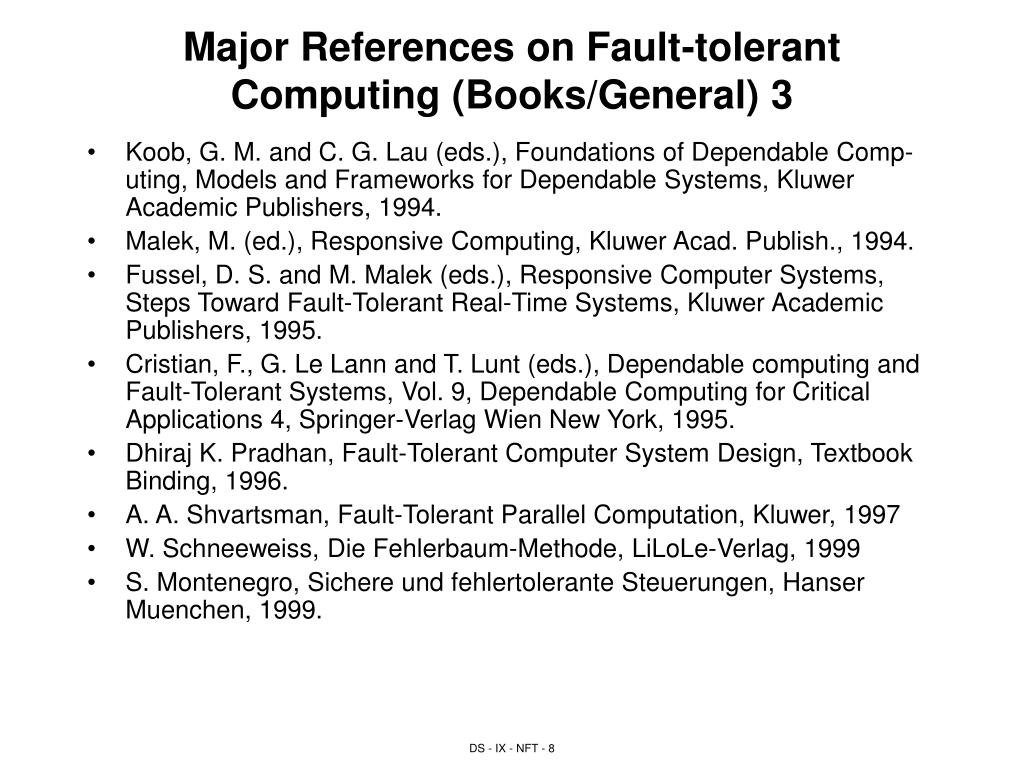 Major References on Fault-tolerant Computing (Books/General) 3