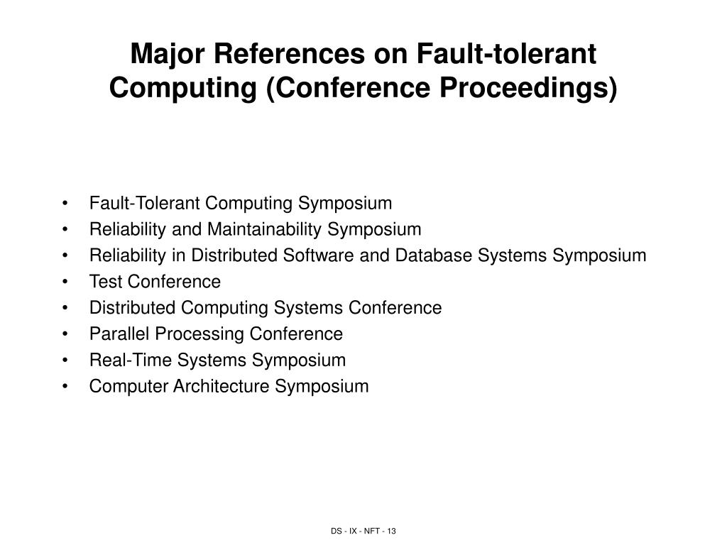 Major References on Fault-tolerant Computing (Conference Proceedings)