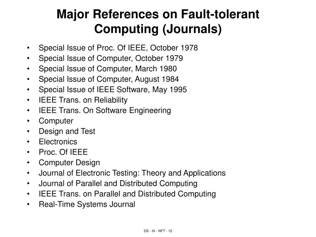 Major References on Fault-tolerant Computing (Journals)