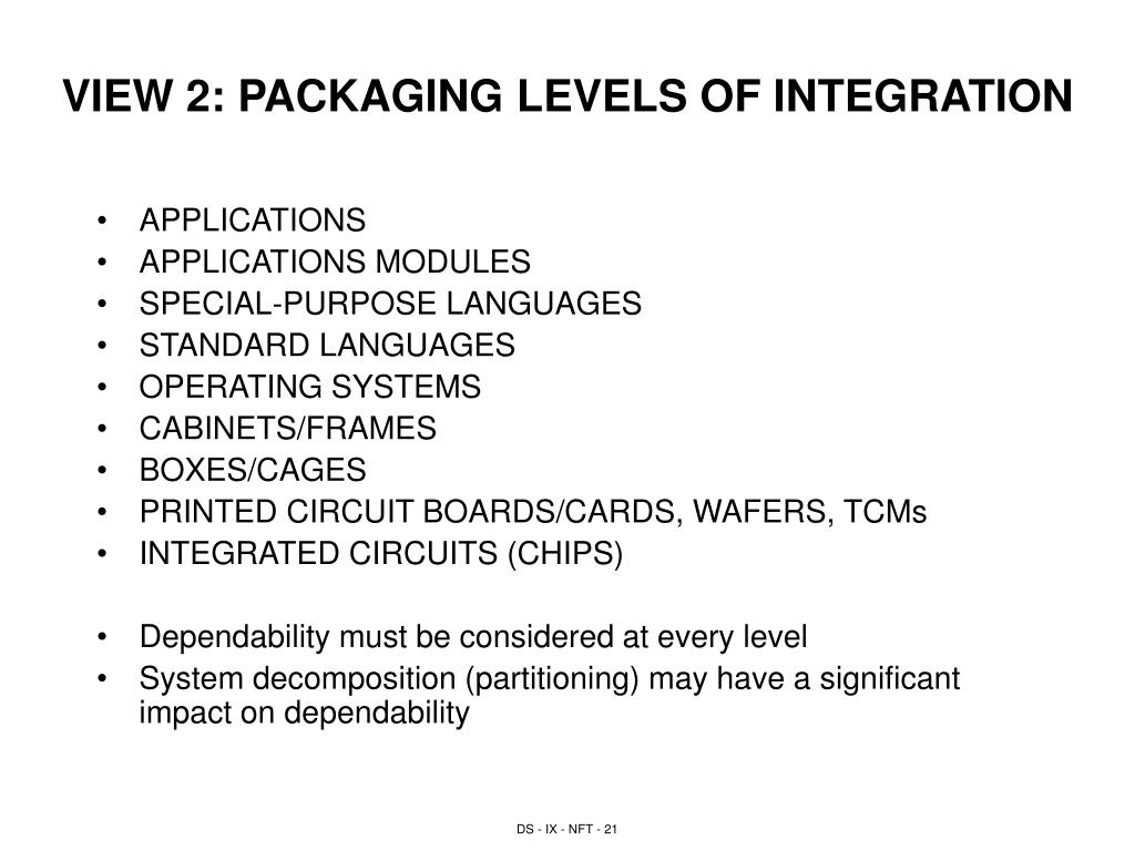 VIEW 2: PACKAGING LEVELS OF INTEGRATION