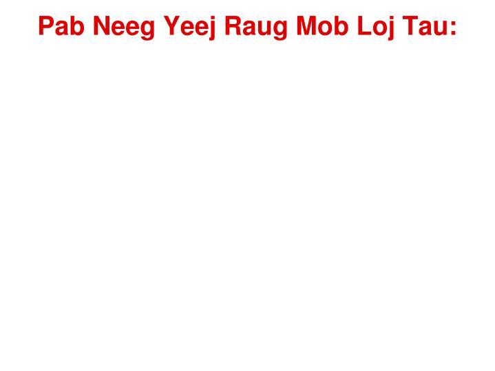 Pab Neeg Yeej Raug Mob Loj Tau: