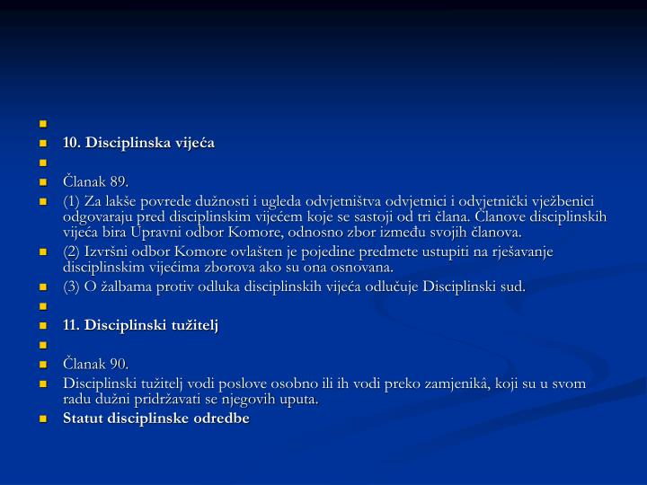 10. Disciplinska vijeća