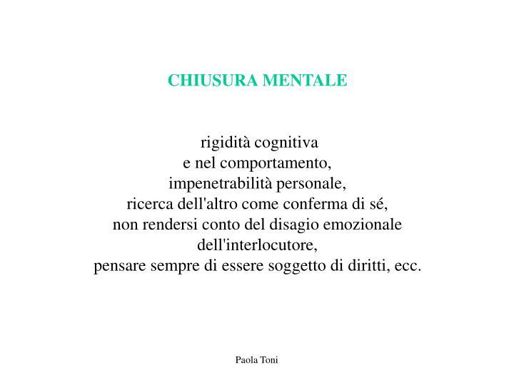 CHIUSURA MENTALE