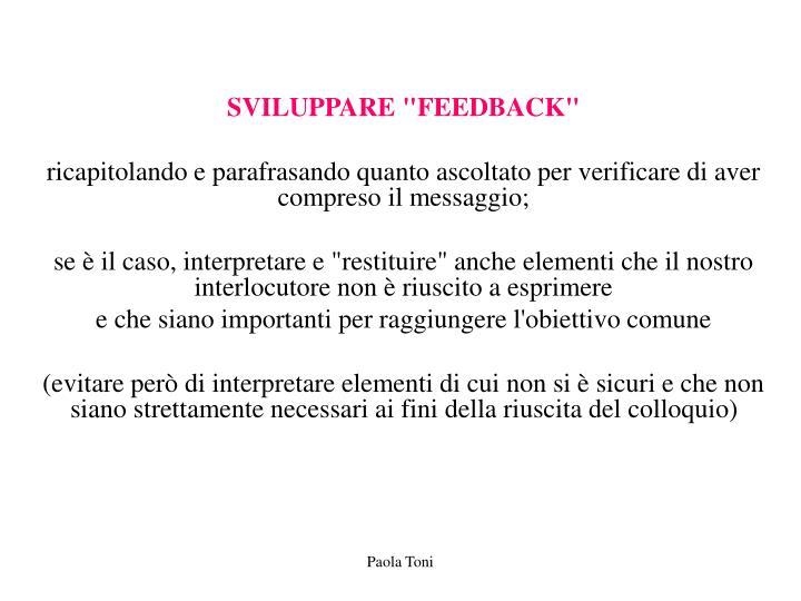 "SVILUPPARE ""FEEDBACK"""