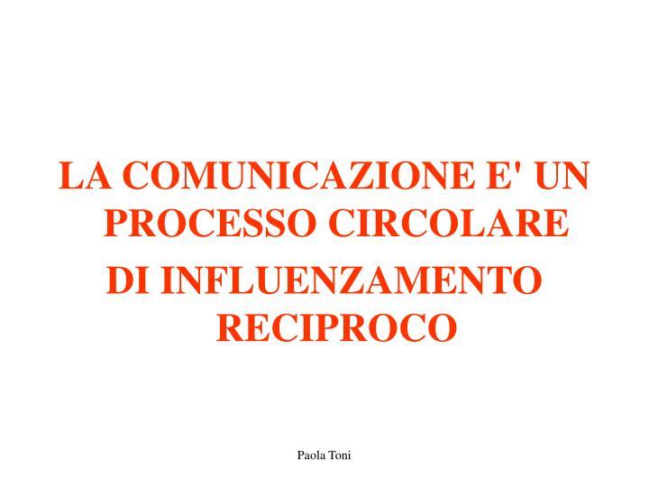 LA COMUNICAZIONE E' UN PROCESSO CIRCOLARE