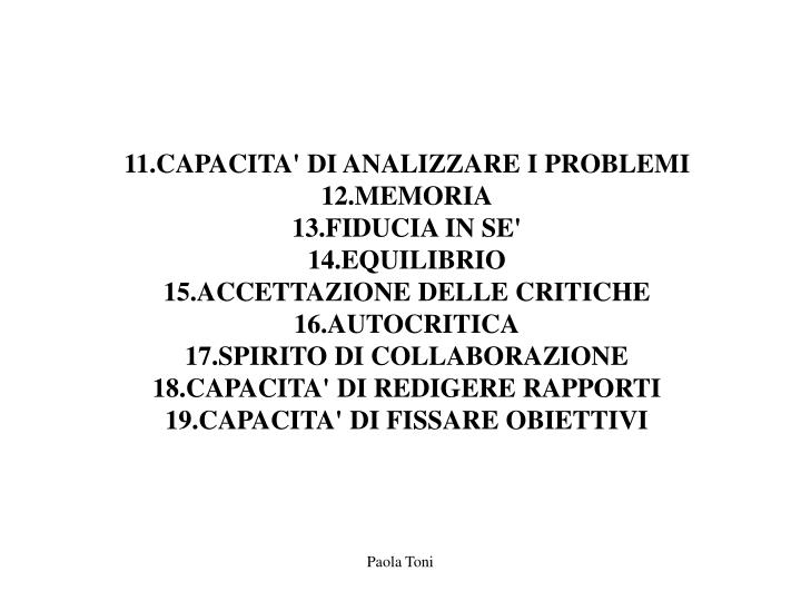 11.CAPACITA' DI ANALIZZARE I PROBLEMI