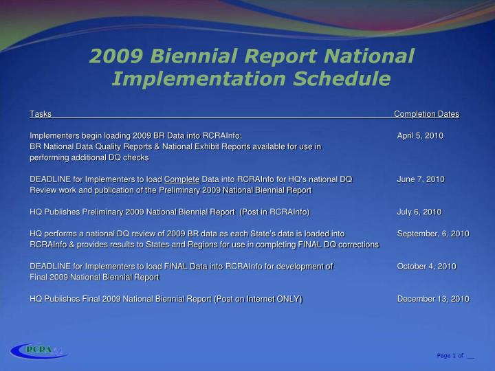 2009 biennial report national implementation schedule